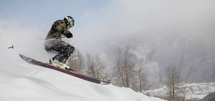 Bobby Moyer skis powder on Aspen Mountain on March 3.