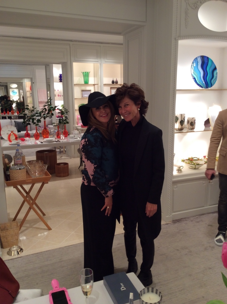 Brenda Zarate with Director of Dior boutique Avenue Montaigne Sylvie Rousseau