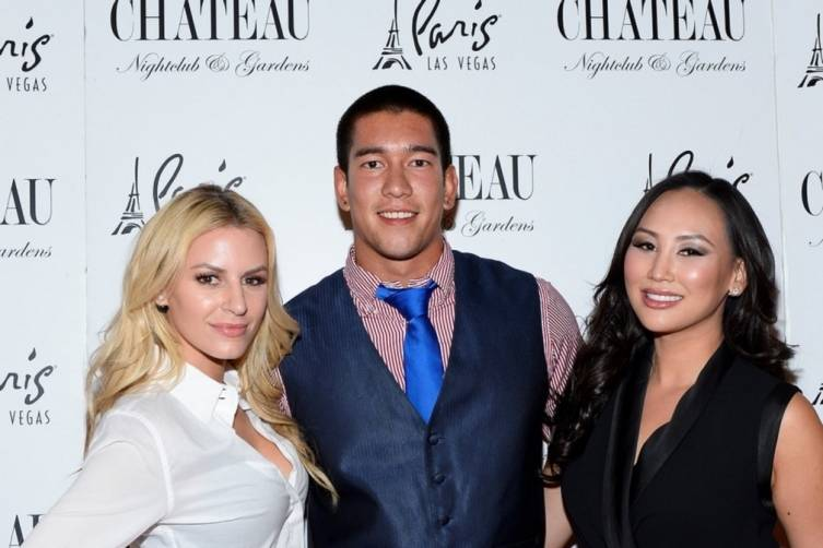 Chateau_Morgan Stewart, Dorothy Wang and Christopher Dewitt Pose on the Red Carpet at Chateau Nightclub & Rooftop_Bryan Steffy