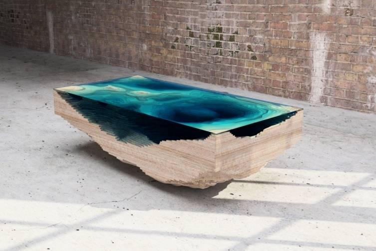 Duffy London, Abyss Table, high grade wood from Forest Stewardship Council managed forests and other controlled sources, glass, (L) 160cm (W) 80cm (H) 46cm, 2014, photo courtesy of Duffy London