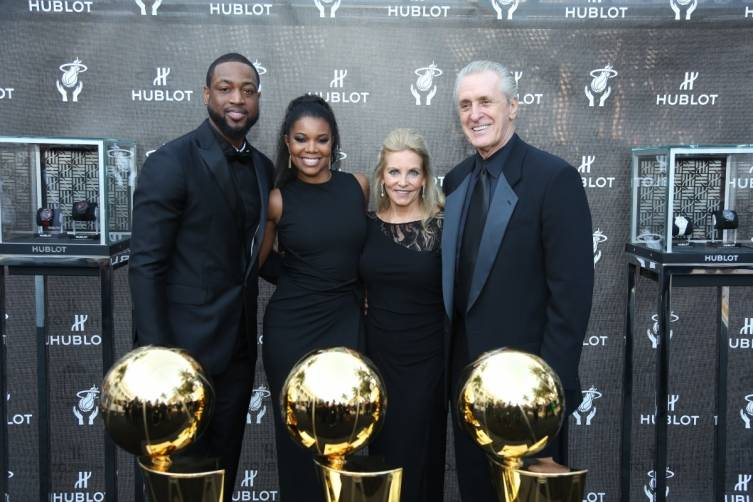 Dwyane Wade, Gabrielle Union, Chris and Pat Riley