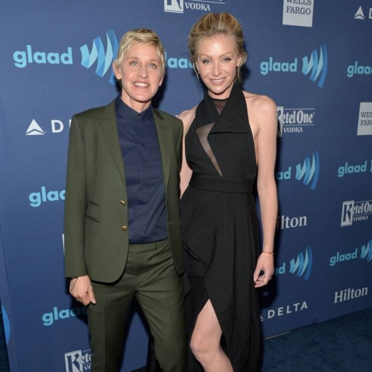 On the scene at the 26th annual glaad media awards for Ellen degeneres and portia de rossi story