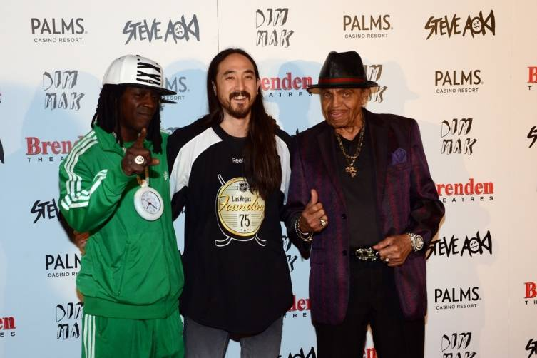 Flava Flav, Steve Aoki and Joe Jackson on red carpet at Brenden Theatres at Palms