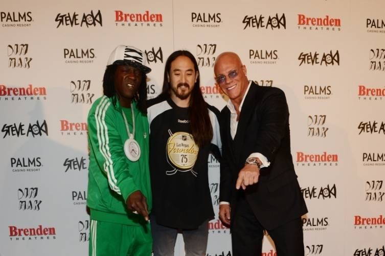Flava Flav, Steve Aoki and Johnny Brenden at Aoki's Brenden celebrity star ceremony at Palms