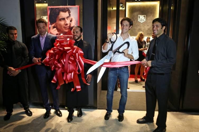 Bruno Senna Cutting the Ribbon at TAG Heuer