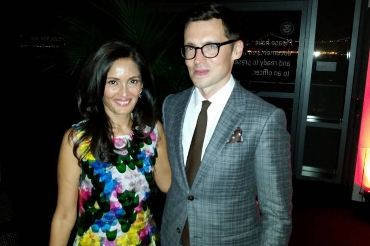 Komal Shah (wearing Erdem) and Erdem