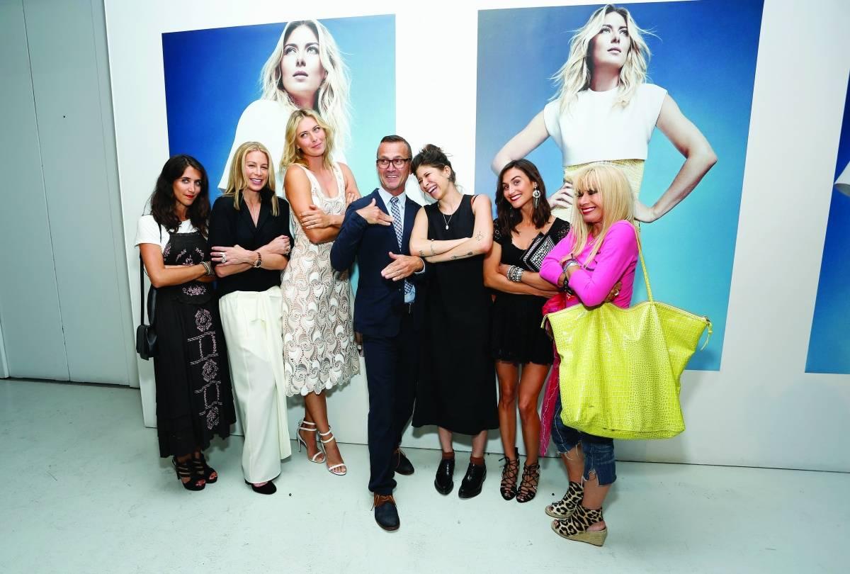 (L-R) Danielle Snyder, Jennifer Fisher, Maria Sharapova, Steven Kolb, Pamela Love, Jodie Snyder and Betsey Johnson