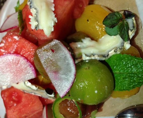 Local Baby Heirloom Tomato salad with watermelon