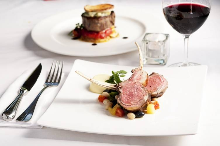 Rack of Lamb with Marrow Fat Beans, Heirloom Tomatoes, Summer Corn Flan_small