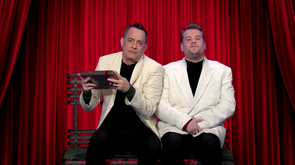 Tom Hanks and James Corden