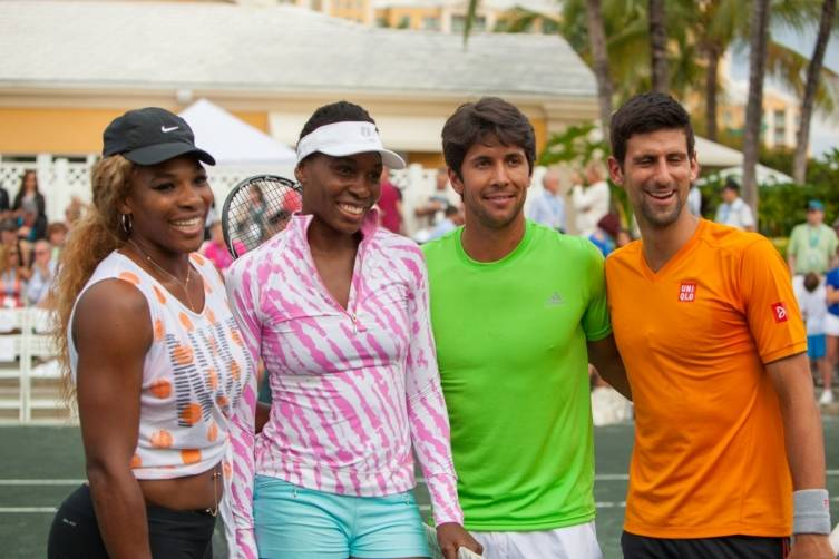 Serena and Venus Williams, player and Novak Djokovic