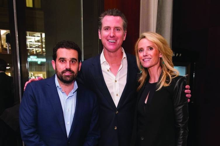 Seth Semilof, Lt. Gov. Gavin Newsom and Jennifer Siebel Newsom