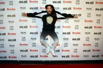 Steve Aoki shows excitement while receiving Brenden celebrity star at Palms