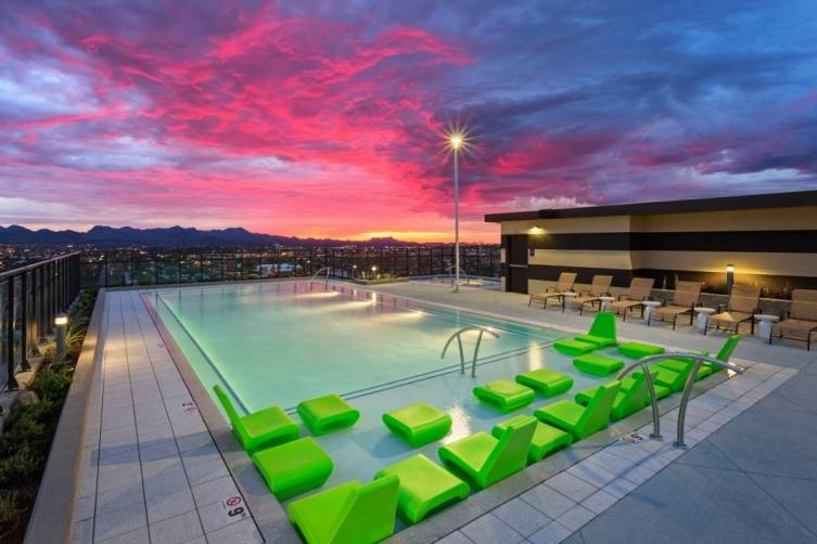 Rooftop pool at The Hub-University of Arizona