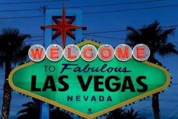 Welcome to Las Vegas Sign Goes Green for St. Patrick's Day
