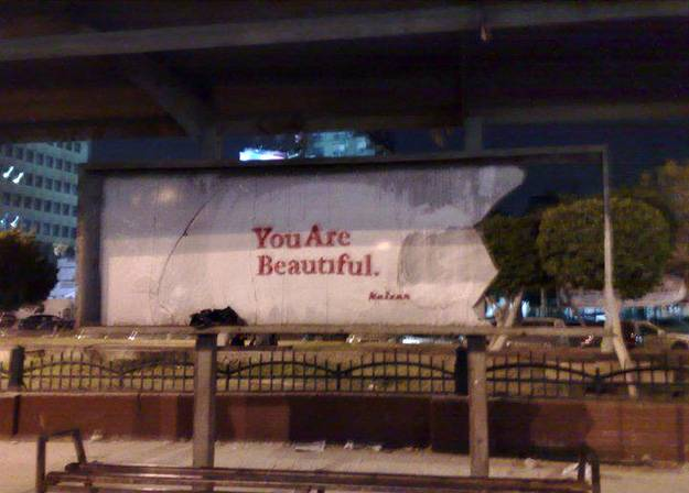 """""""You Are Beautiful""""; an image that street artist Keizer frequently uses to remind people of their strengths and self-worth."""