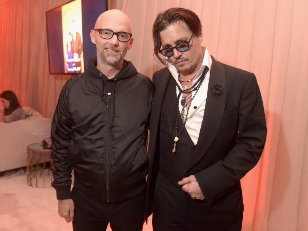 Moby and Johnny Depp attend Moby (L) and actor Johnny Depp attend the Art of Elysium and Samsung Galaxy present Marina Abramovic's HEAVEN gala in January