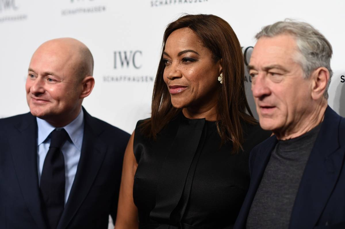 "IWC Schaffhausen CEO Georges Kern, actress Grace Hightower, and Tribeca Film Festival Co-founder Robert De Niro attend the IWC Schaffhausen Third Annual ""For the Love of Cinema"" Gala during the Tribeca Film Festival on April 16, 2015 in New York City. (Photo by Dimitrios Kambouris/Getty Images for IWC)"