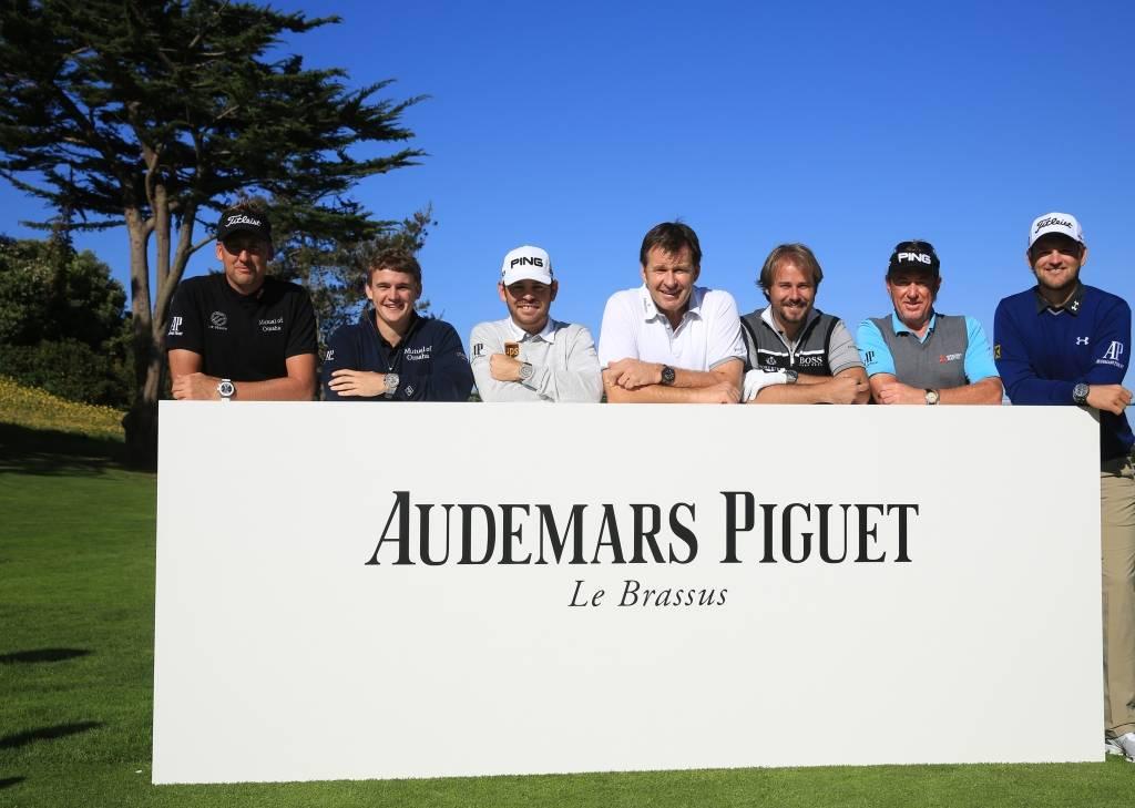 The group of Audemars Piguet ambassadors. Left to right: Ian Poulter, Bud Cauley, Louis Oosthuizen, Sir Nick Faldo, Victor Dubuisson, Miguel Ángel Jiménez, Bernd Wiesberger