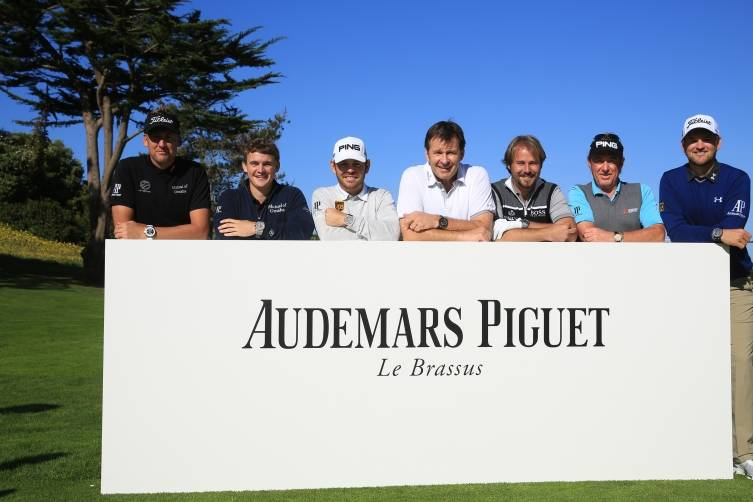 The group of Audemars Piguet ambassadors. Left to right: Ian Poulter, Bud Cauley, Louis Oosthuizen, Sir Nick Faldo, Victor Dubuisson, Miguel Ángel Jiménez, Bernd Wiesberger
