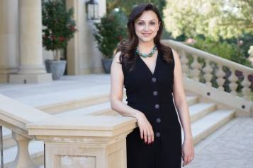 Bita Daryabari, founder and executive director of Pars Equality Center, in front of her Atherton home. (2)