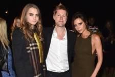 Cara Delevingne, Christopher Bailey and Victoria Beckham