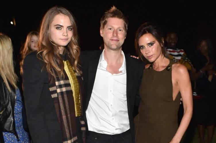 Cara Delevingne, Christopher Bailey and Victoria Beckham