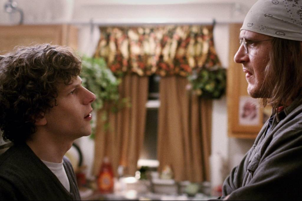 Jesse Eisenberg and Jason Segel in a scene from James Ponsoldt's THE END OF THE TOUR