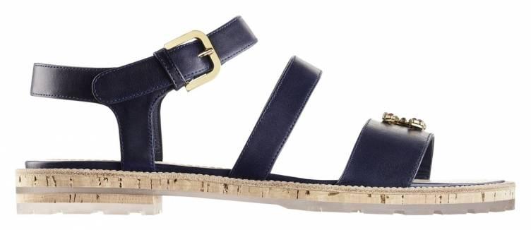 G30462-X01011-0D434-Navy blue leather and cork sandal with a CC jewel_Sandale en cuir bleu marine et liège avec bijou CC