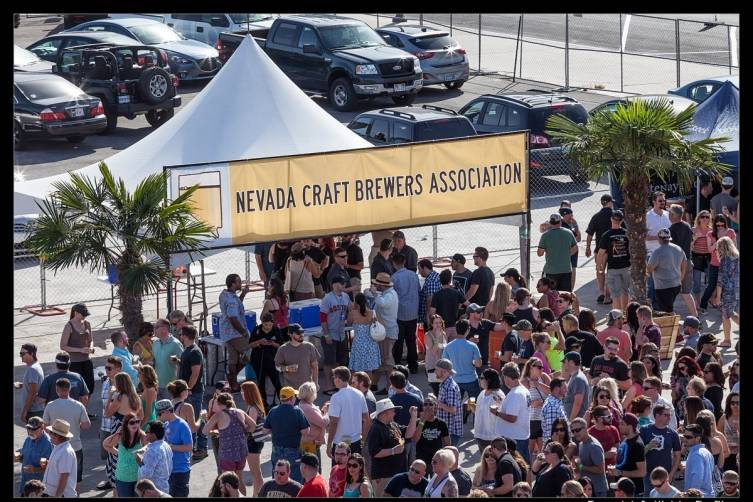 Great Vegas Festival of Beer fans line up to celebrate delicious brews served by Nevada Craft Beer Association.