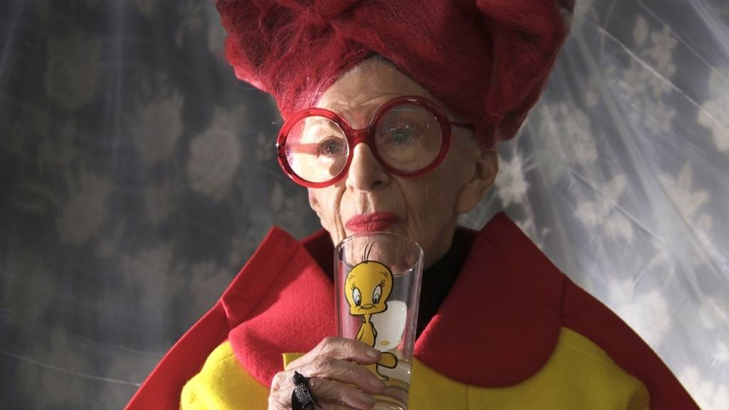Iris Apfel in a scene from Albert Maysles' IRIS