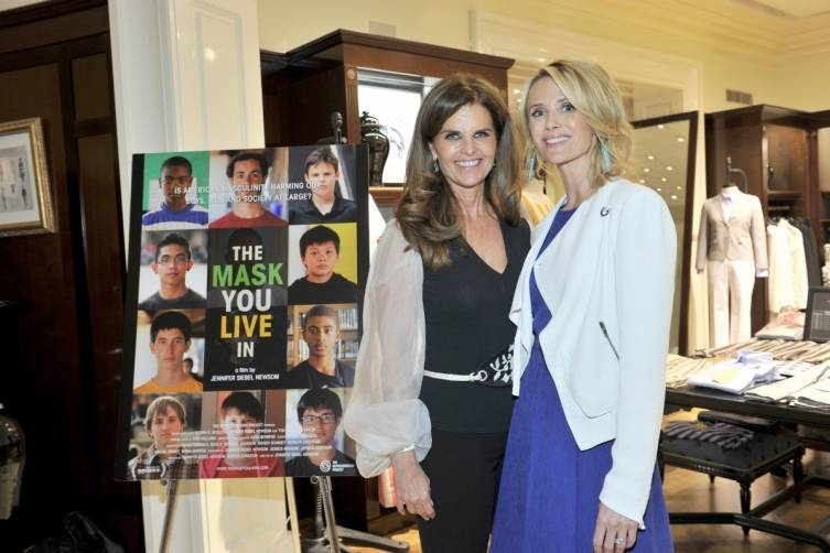 Jennifer Siebel Newsom and Maria Shriver at the LA premiere of 'The Mask You Live In'