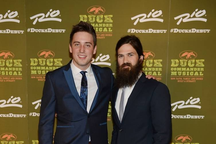 Josh Tolle with Jep Robertson at World Premiere of DUCK COMMANDER MUSICAL 4.15.15_Credit Denise Truscello