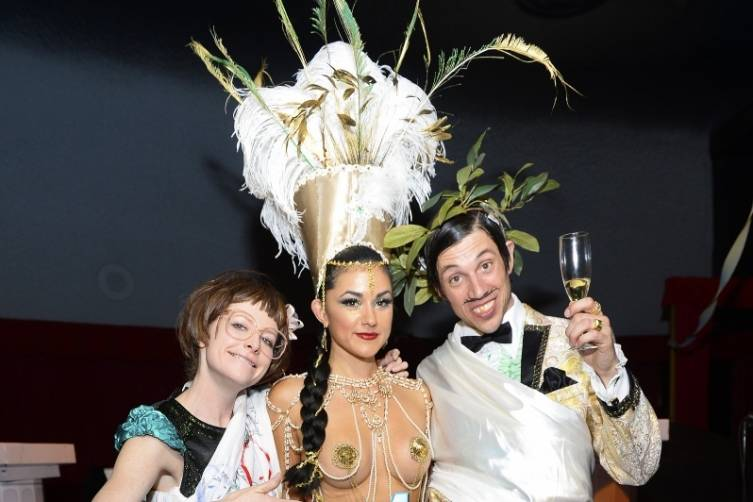 Joy Jenkins, Melody Sweets and The Gazillionaire at ABSINTHE's Fourth Anniversary Celebration on April 1, 2015_Credit Bryan Steffy