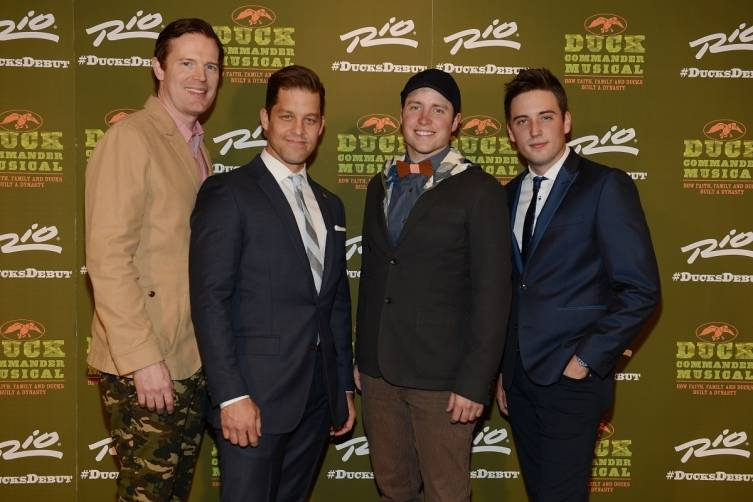 Matt Stokes, Ben Thompson, Tommy McDowell and Josh Tolle at World Premiere of DUCK COMMANDER MUSICAL 4.15.15_Credit Denise Truscello