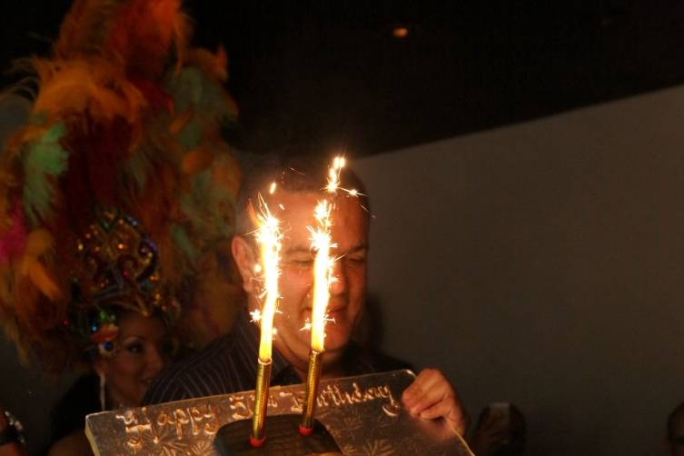Ricardo Guadalupe with Hublot Cake and Sparklers