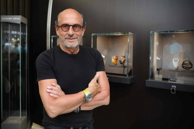 Richard Mille poses in Bal Harbour boutique
