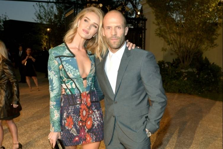 Rosie Huntington-Whiteley and Jason Statham wearing Burberry at the Burberry _London in Los Angeles_ event.