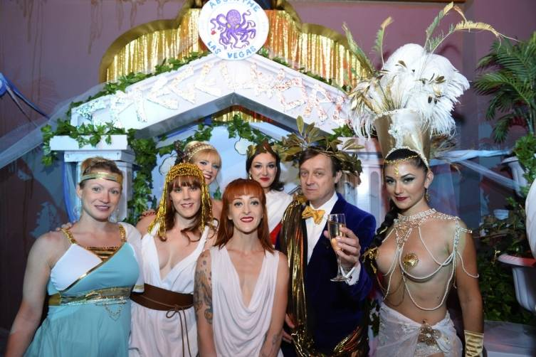 Ross Mollison with the ladies of ABSINTHE at Fourth Anniversary Party on April 1_Credit Bryan Steffy
