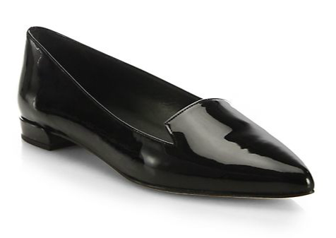 Stuart Weitzman Point-Toe Patent Leather Loafers ($335)