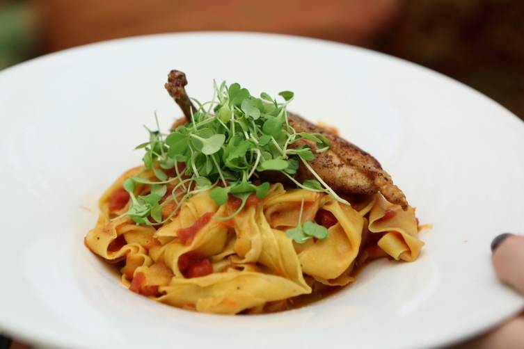 Tagliatelle and chicken at Casa Casaurina
