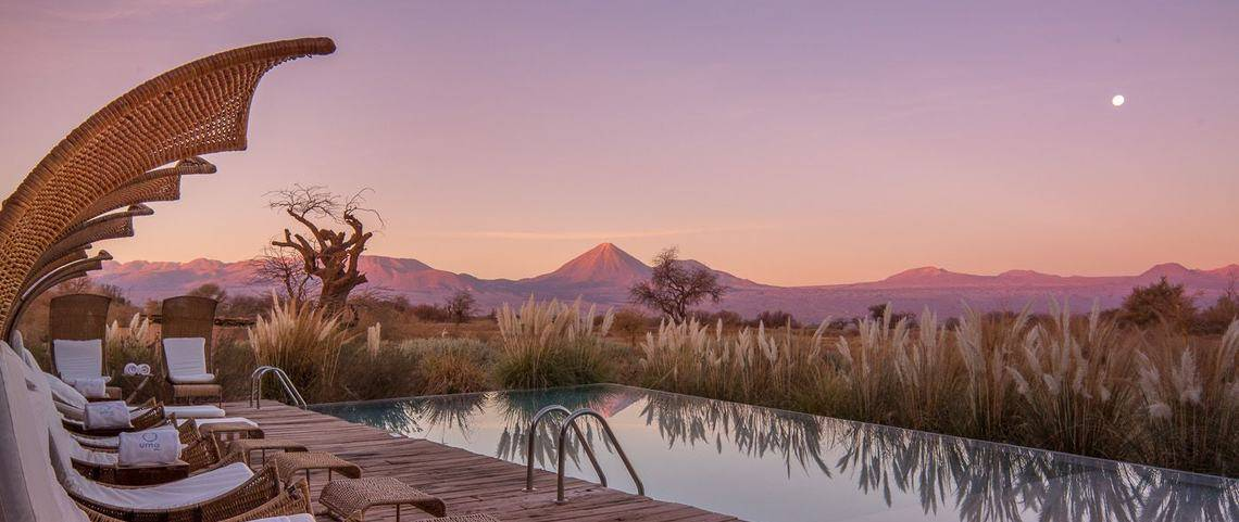 A view of the sunset at Tierra Atacama pool