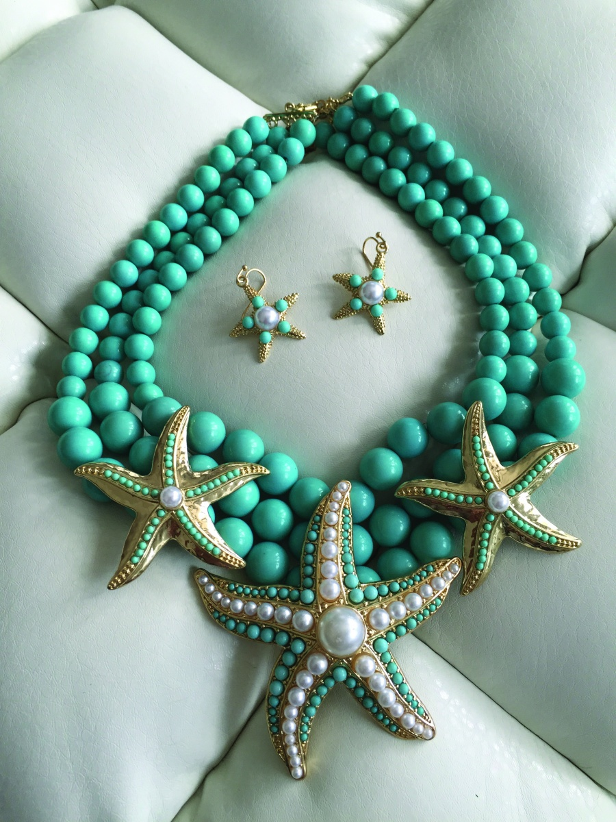 Turquoise and Starfish Necklace available at leablackbeauty.com