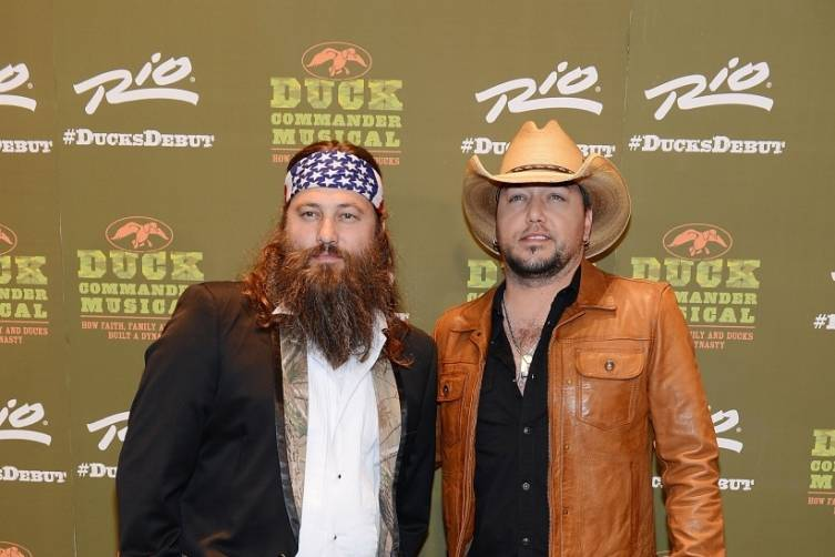 Willie Robertson and Jason Aldean at World Premiere of DUCK COMMANDER MUSICAL 4.15.15_Credit Densie Truscello