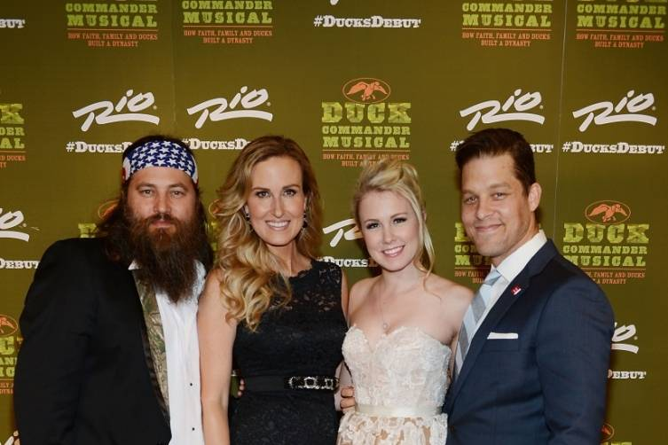 Willie and Korie Robertson with Ginna Claire Mason and Ben Thompson at World Premiere of DUCK COMMANDER MUSICAL 4.15.15_Credit Denise Truscello