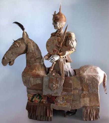 In Sinai's collection, on exhibit at The Courtyard Gallery, Gordafarid is shown first as an actress or puppet riding her horse.