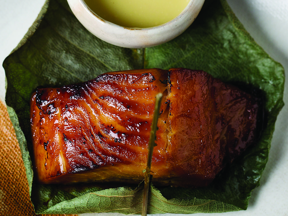 marinated black cod wrapped in hoba leaf