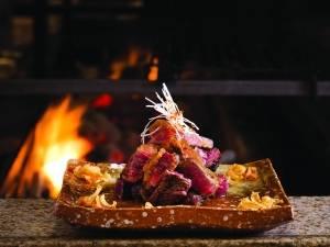 rib eye steak with wafu sauce and garlic crisps - rib eye no