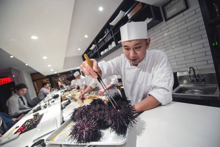 Interiors with Daisuke Nakazawa at the sushi bar PHOTO CREDIT: Daniel Krieger for the New York Times