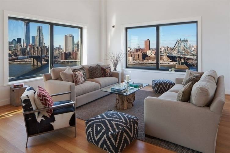 An apartment with a 360 degree view of both the Manhattan & Brooklyn bridges.